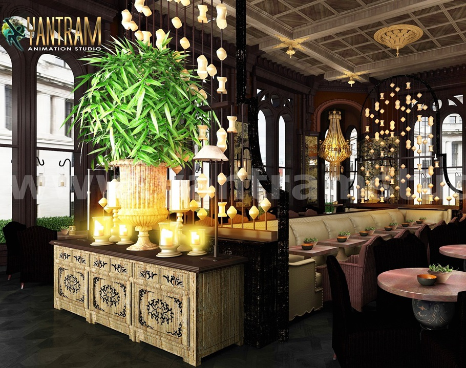 Magical Light, Cozy and Romantic Café Ideation Design 3d interior modeling by Architectural Animation Services, Sydney – Australiaby Ruturaj Desai