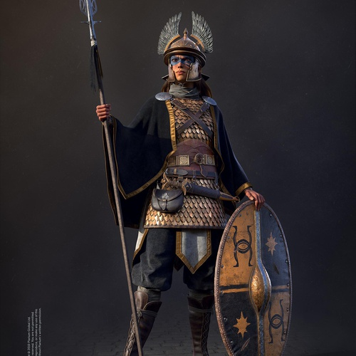 warrior greek roman female character design model render 3d