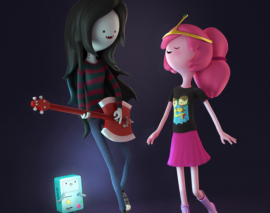 Marceline and Peebles. Beeemo!by Maíra Valentim