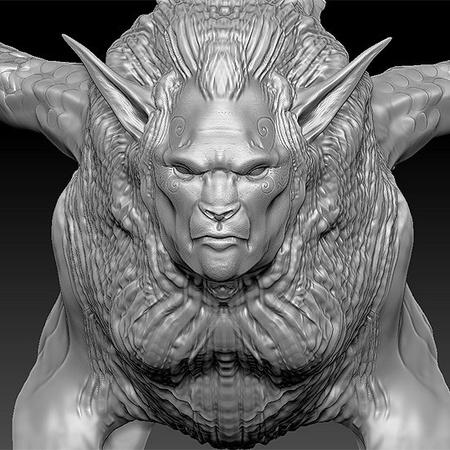 four legged 3d sculpt render model reptilian monster creature design