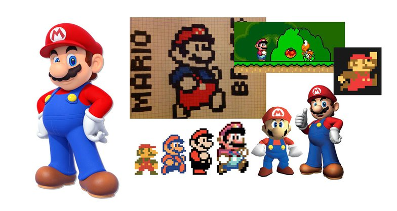 super mario, old, new, animation, 3d, 2d