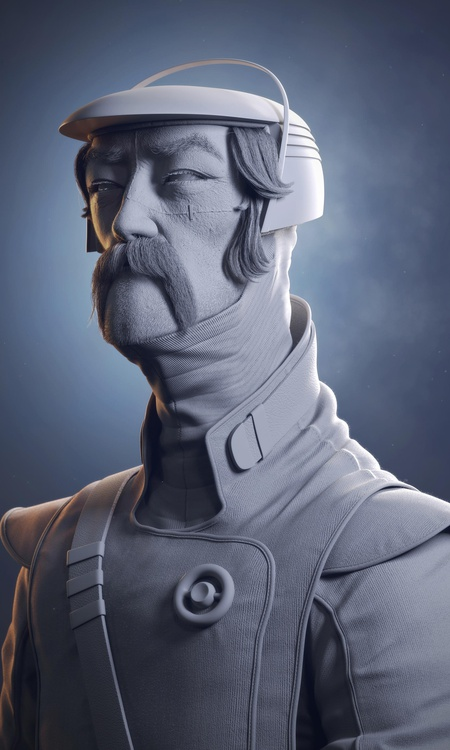 realistic textured clay render render 3d model male character design sculpture post-production