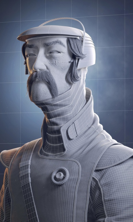 render wireframe 3d model male character design sculpture post-production
