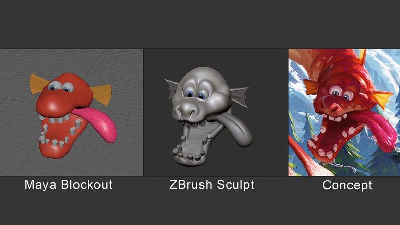 maya blockout zbrush render sculpt making dragon