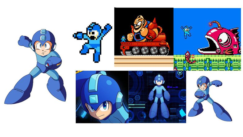 megaman, blue, old, animation, game, 3d, 2d