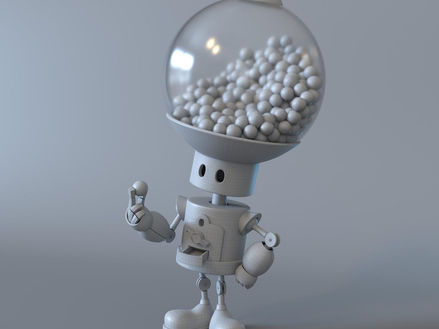 3d gumball robot character