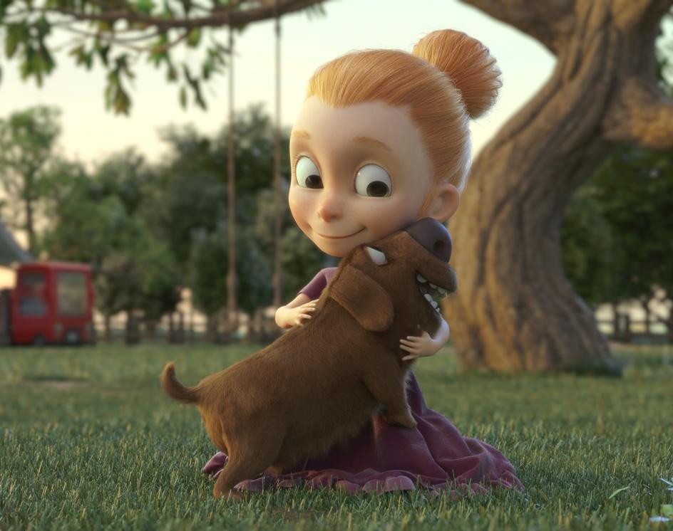 Girl & Dog - 3Dby Erick