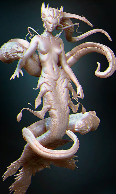 sea creature design female character model render 3d