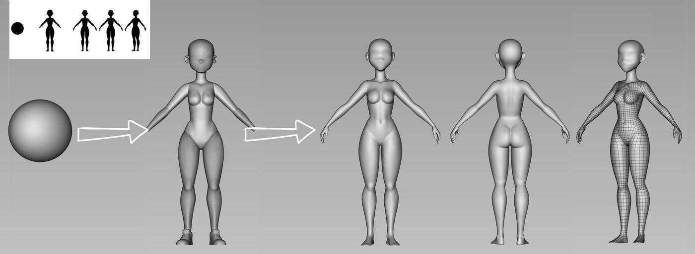 body basic sculpting 3d model render