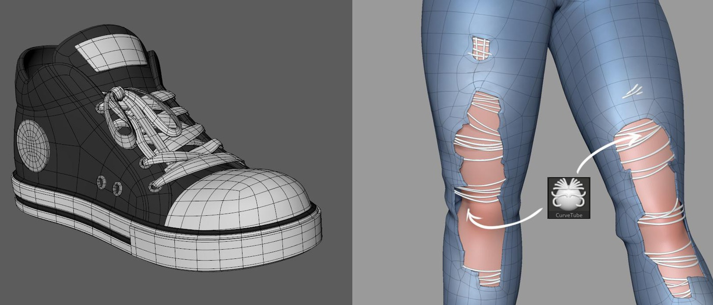 shoes ripped jeans 3d render model clothing