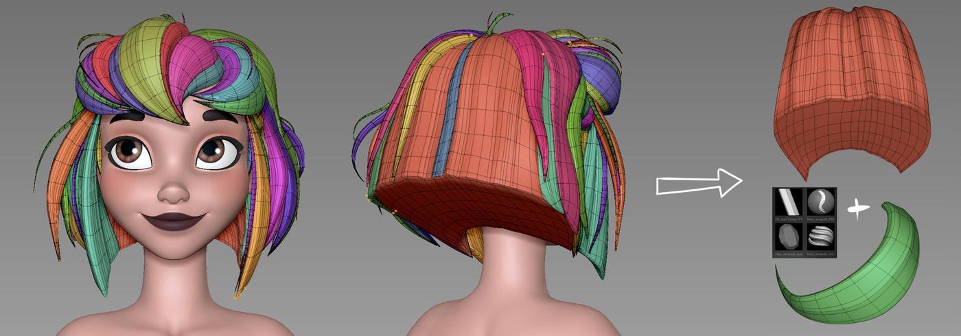 hair tubes detailing 3d model female character