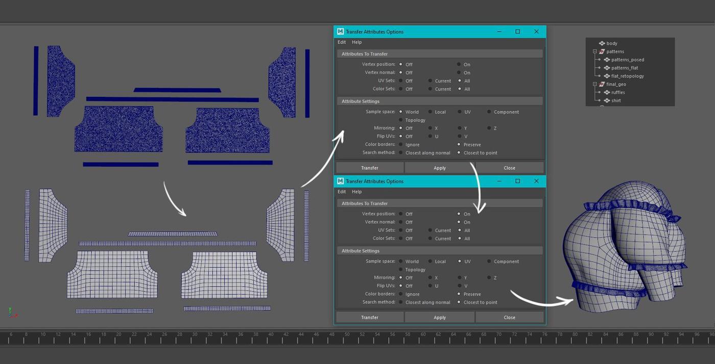 generating UV drawing modeling flats retopology