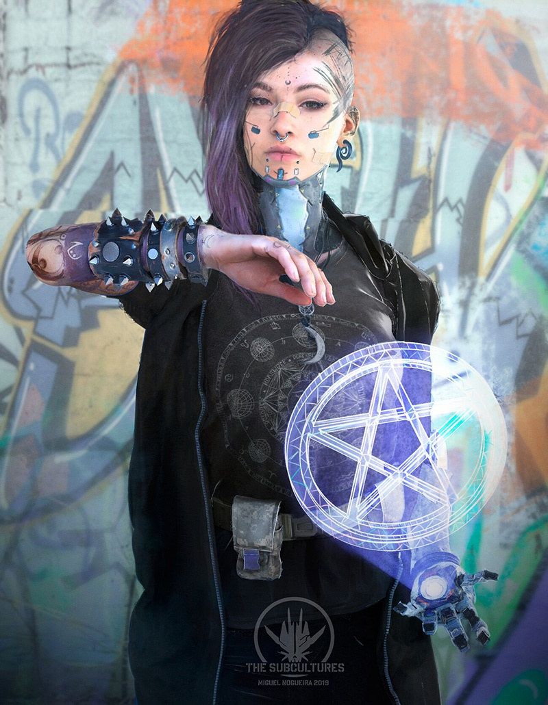punk girl with hologram