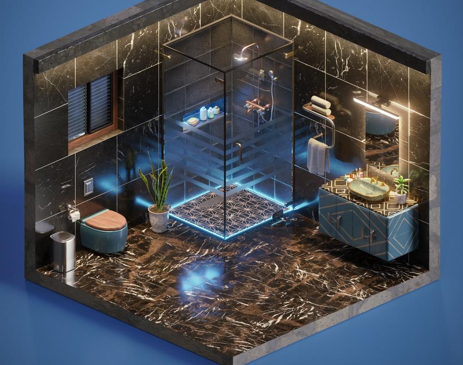 Modern Luxury Isometric Bathroom - Blender workby Sayan karmakar