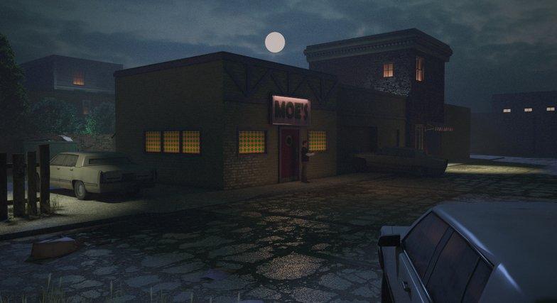 moe's tavern 3d rendering