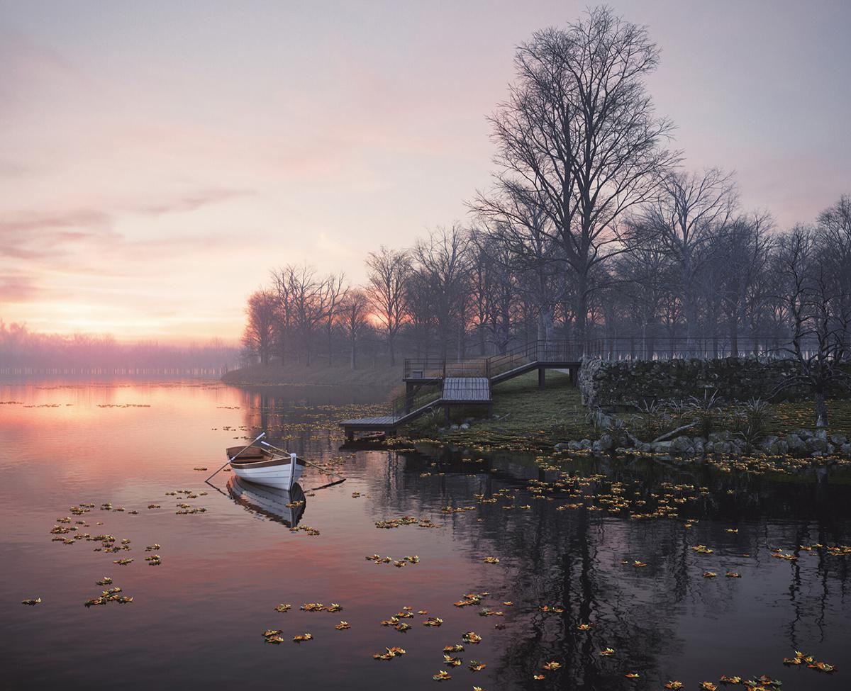 row boat river water reflection sunset atmospheric trees nature