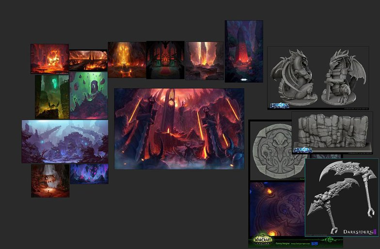 moodboard of materials and caves