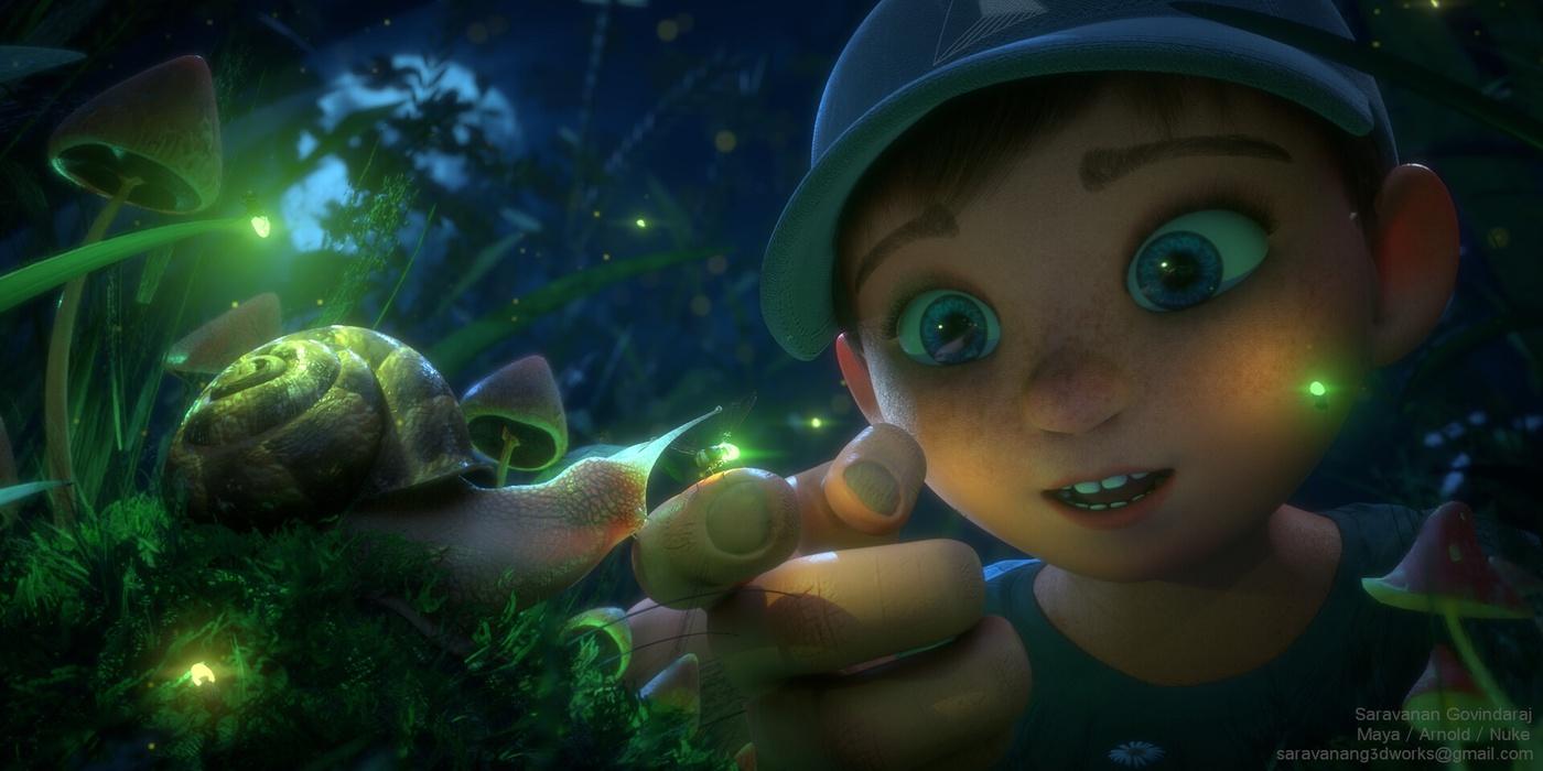 3d render model sculpt young boy snail lighting