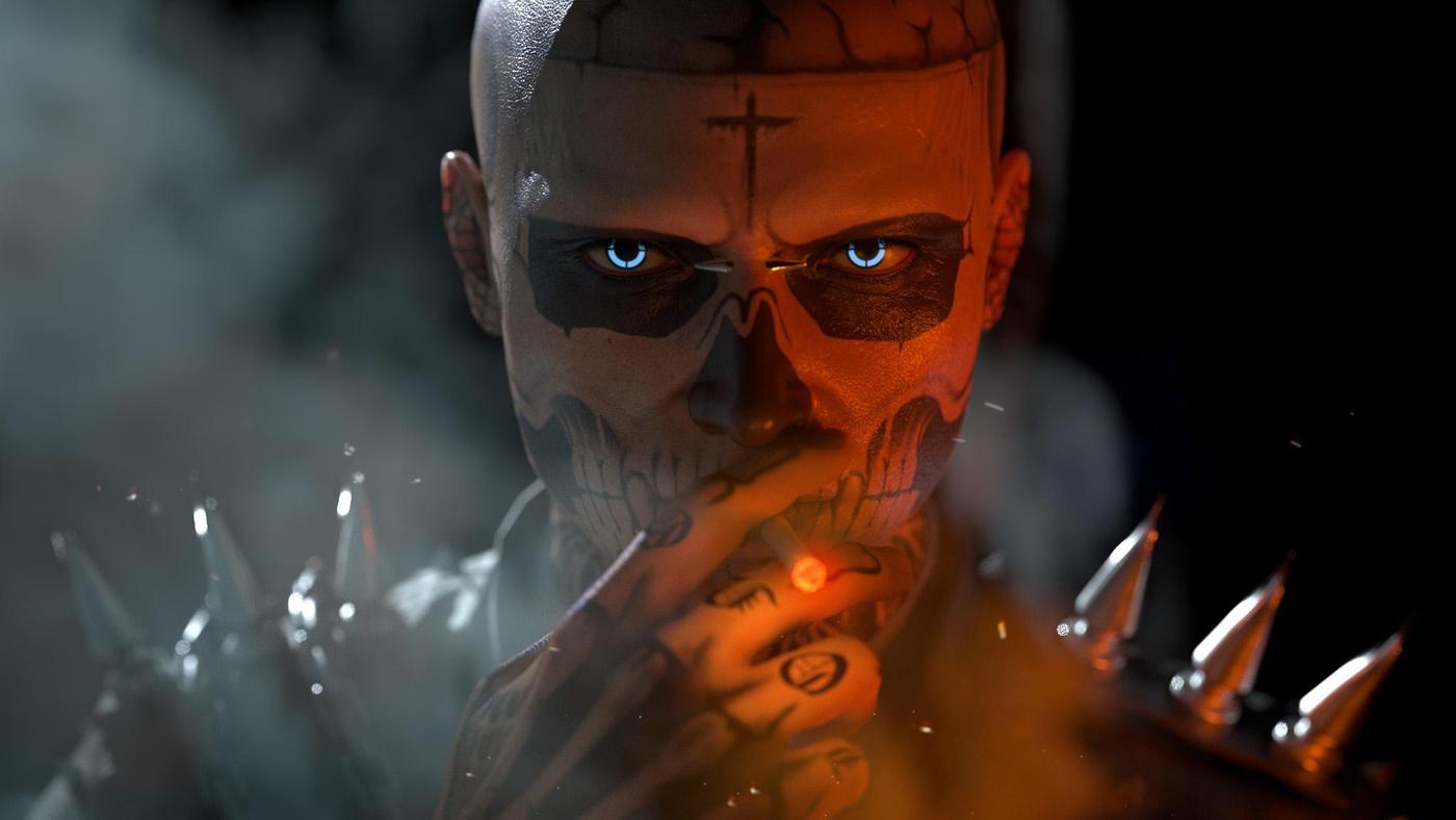 male character design moody dark render model