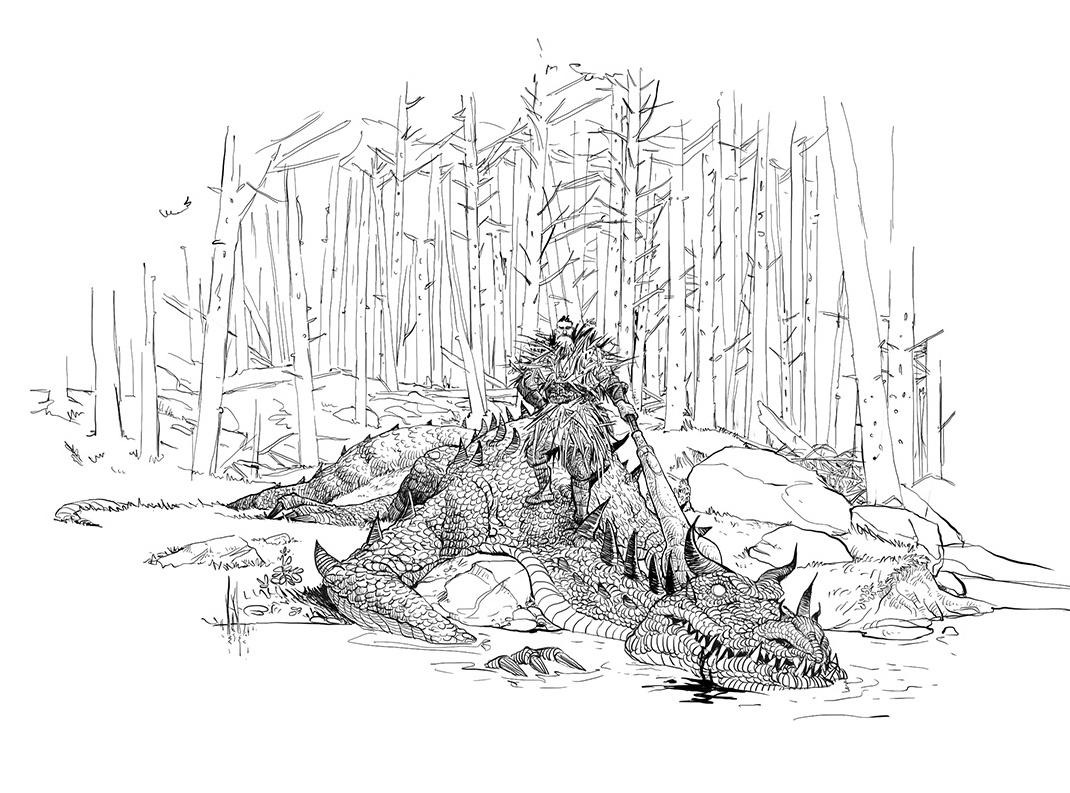 ancient Ukrainian fairy tale about Mykyta Kozhumyaka, dragons