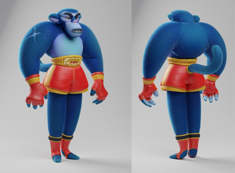 monkey boxer character design 3d sculpt model mammal