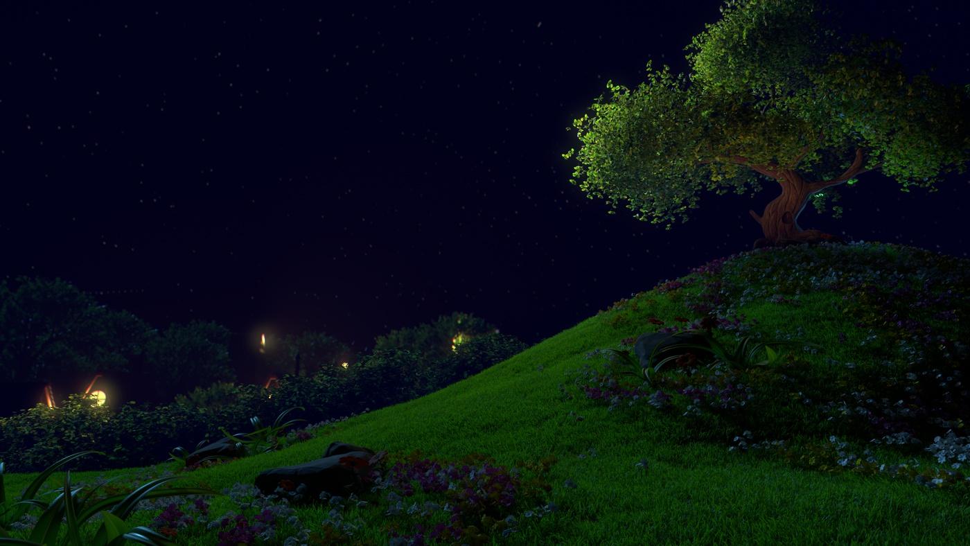 night sky trees grass fields model render 3d