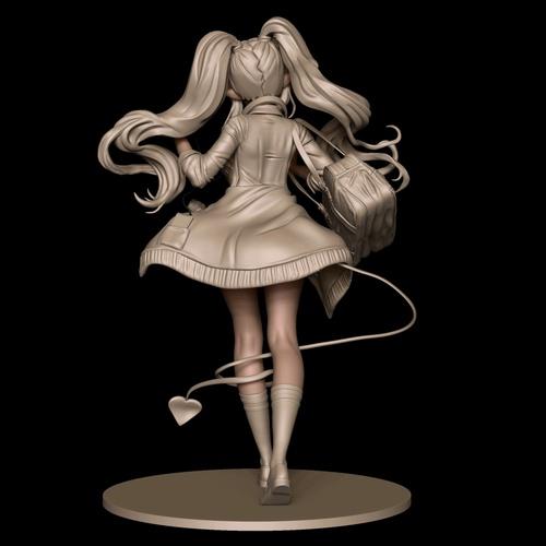 anime girl figurine 3d model ponytails kawaii design