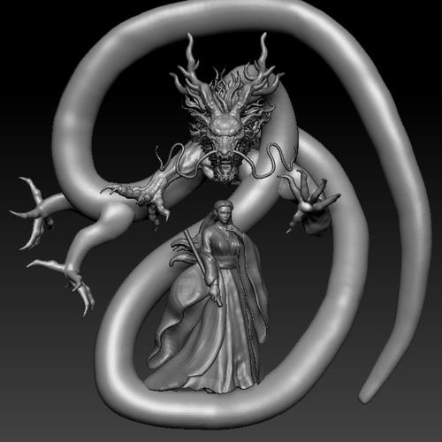mystical fantasy dragon woman 3d sculpt design