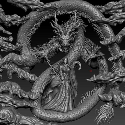 mystical fantasy dragon woman 3d sculpt design detailing