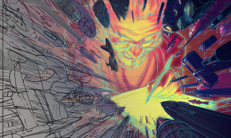 roughs final line art illustration colour composition render