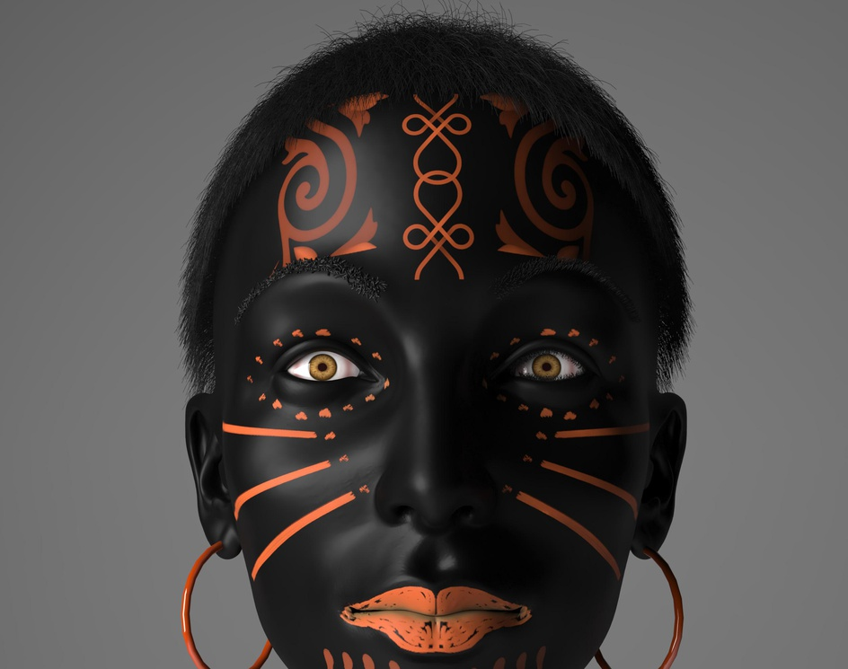 black woman  in colors dressby Ali Shamsi Pour