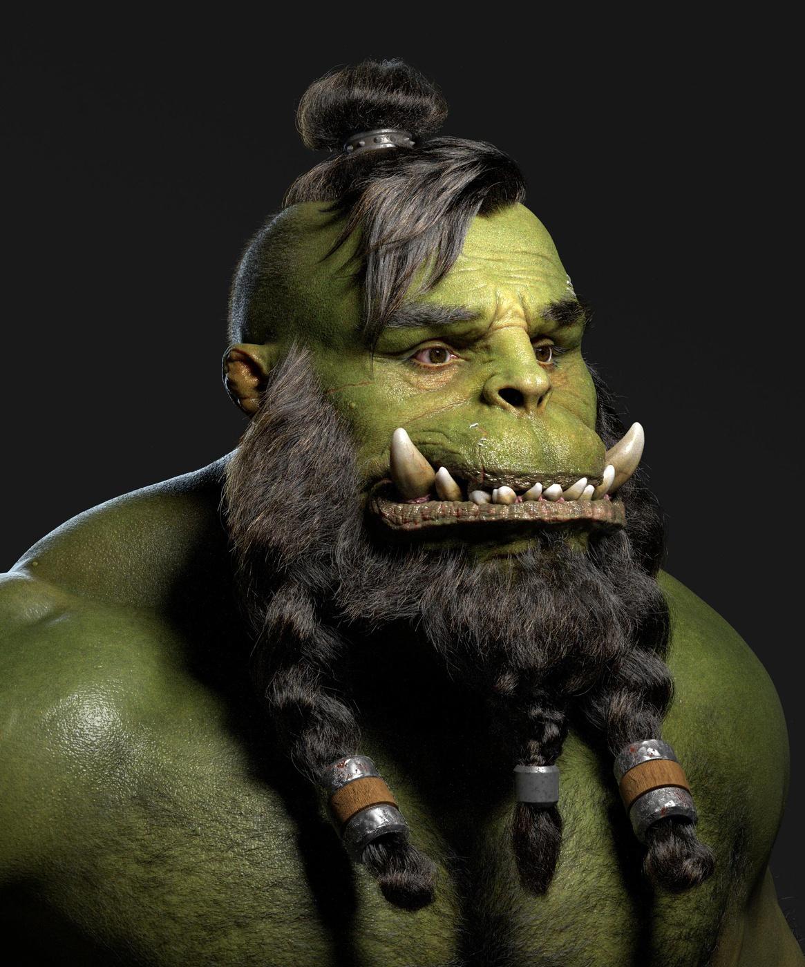 green orc character design fantasy 3d