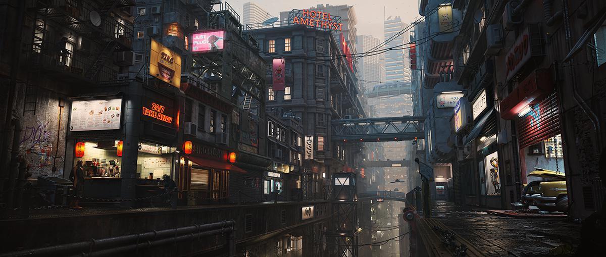 oris city scene model render cyberpunk cityscape