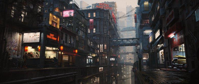 final render sci-fi cyberpunk cityscape render model