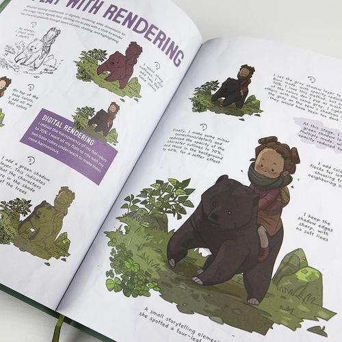 girl sitting on bear illustration
