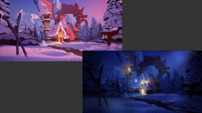 summer winter season changes render model 3d