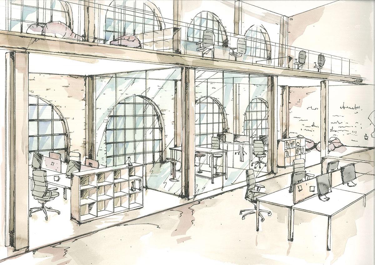sketch of modern office