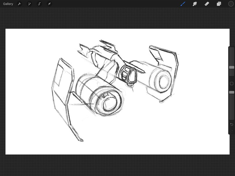 spaceship rough sketch