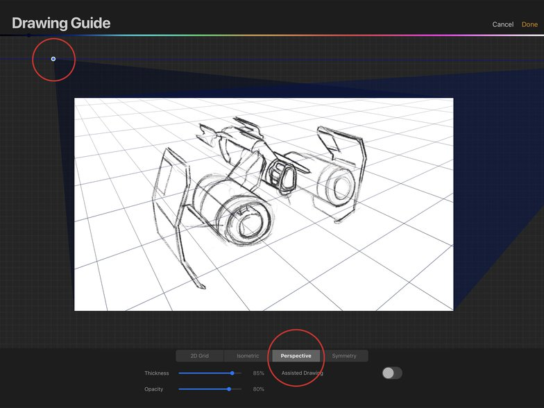procreate perspective guide spaceship