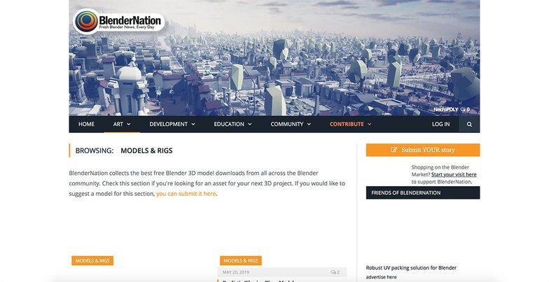 Blender Nation homepage