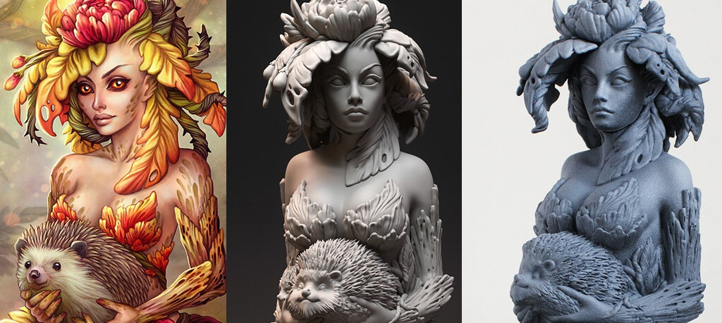 bust, sculpt, Dryad, miniture, collectible, 3d printing
