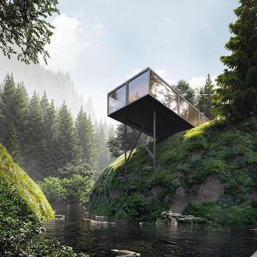 arch-viz 3d concept modern forest house