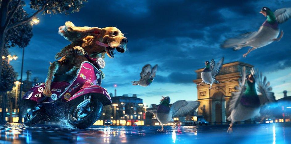 dog driving motorbike paris environment 3d sculpt