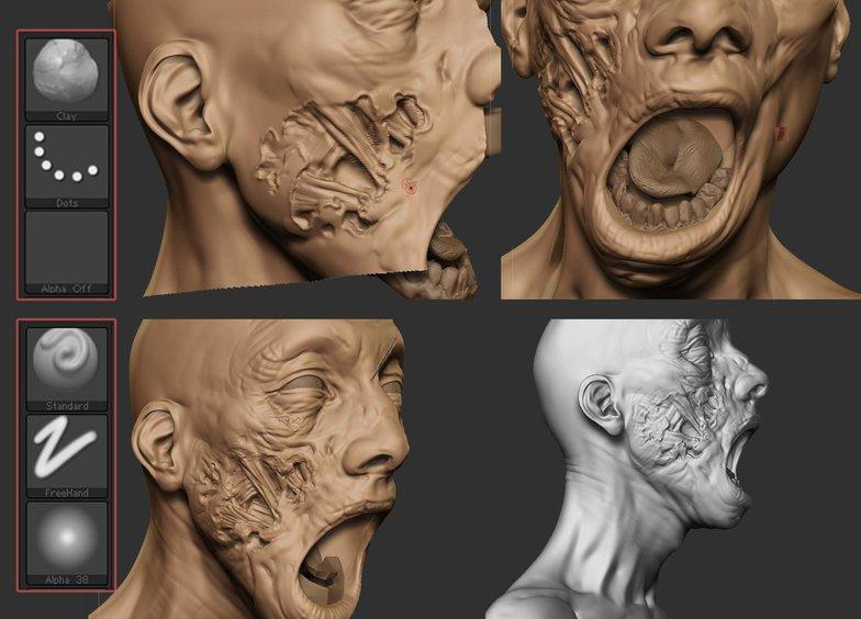 zombie facial modelling 3d texture