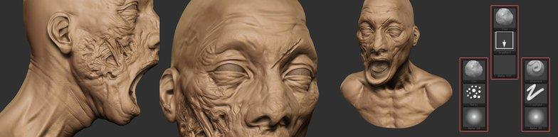 clay brush zombie face