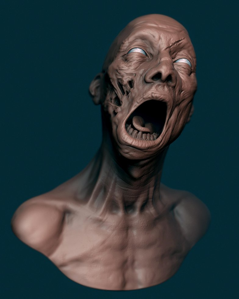 zombie profile zbrush clay model