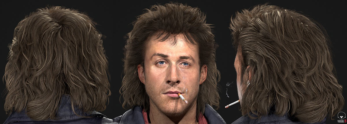 male with mullet 3d model