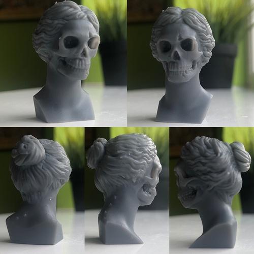 3d print skulls in a wig