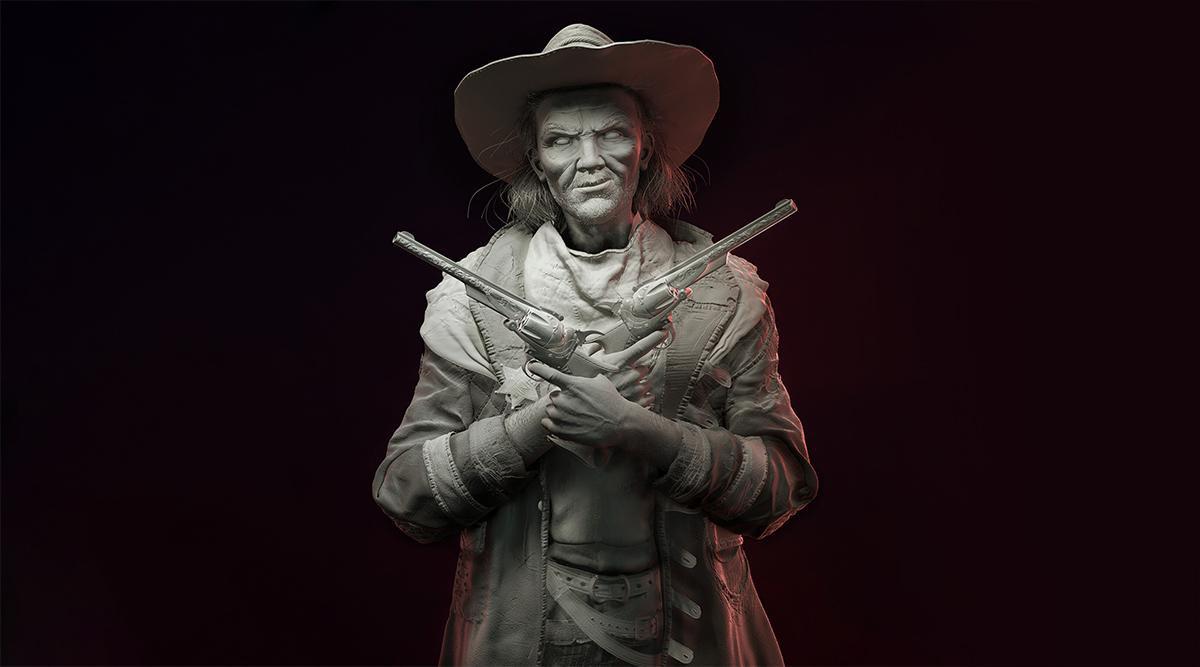 male cowboy with guns 3d render