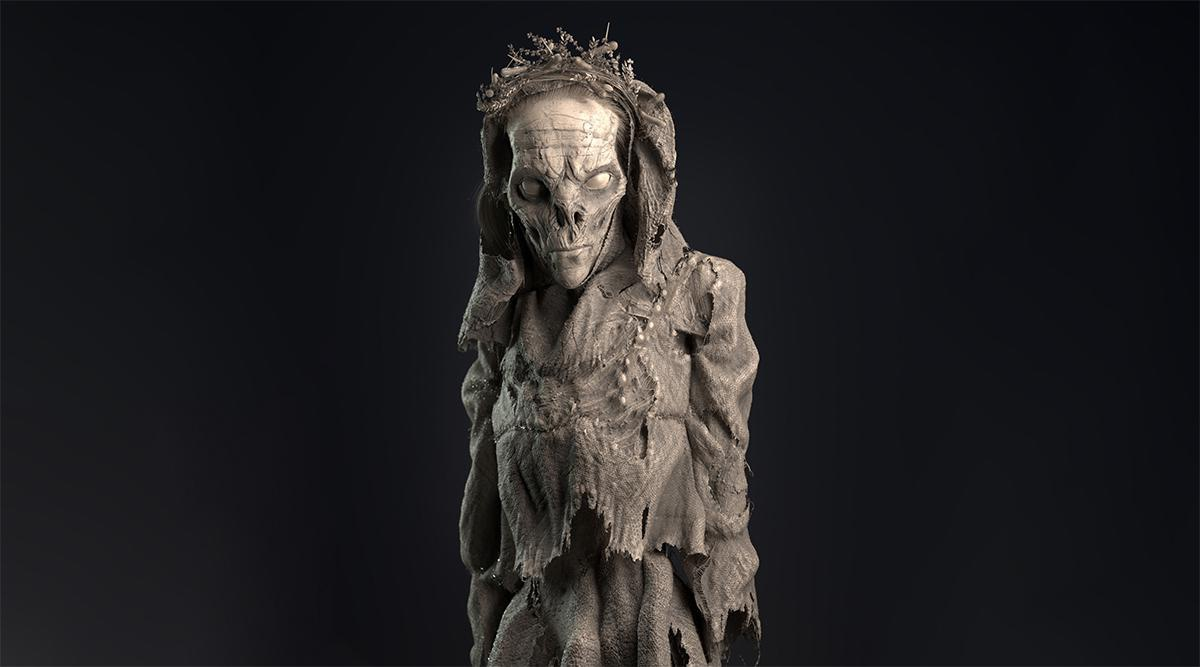 mummified decaying body 3d render